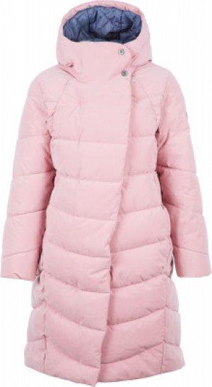 Пальто пуховое для девочек , размер 146 Merrell. Цвет: розовый