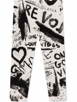Легинсы с надписью Dolce & Gabbana Kids. Цвет: белый