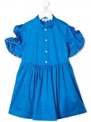 Платье с оборками на рукавах Emilio Pucci Junior. Цвет: синий