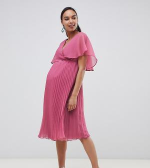 Платье миди с плиссированной юбкой и рукавами клеш ASOS DESIGN Maternity-Мульти Maternity