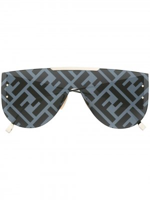Солнцезащитные очки-авиаторы с логотипом Fendi Eyewear. Цвет: черный