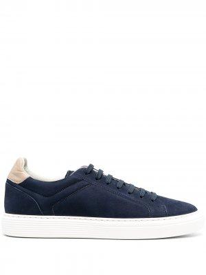 Colour block low-top sneakers Brunello Cucinelli. Цвет: синий