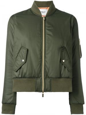 Укороченная куртка-бомбер Blugirl. Цвет: зелёный