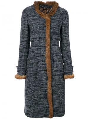 Пальто букле с меховой отделкой Dolce & Gabbana Pre-Owned. Цвет: разноцветный