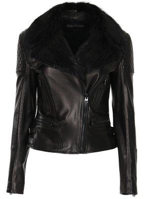 Куртка-косуха кожаная с мехом TOM FORD