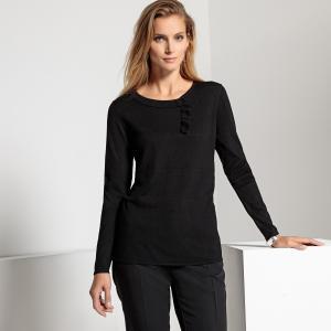 Пуловер оригинальный из тонкого трикотажа ANNE WEYBURN. Цвет: серый меланж,синий,черный