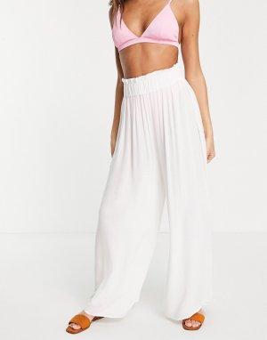 Белые широкие пляжные брюки-палаццо -Белый ASOS DESIGN