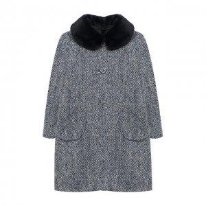 Шерстяное пальто Il Gufo. Цвет: синий
