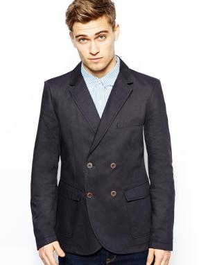 Хлопковая куртка-блейзер French Connection. Цвет: темно-синий