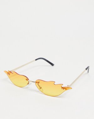 Модные очки с оправой дизайном пламени и красными стеклами эффектом омбре -Красный ASOS DESIGN