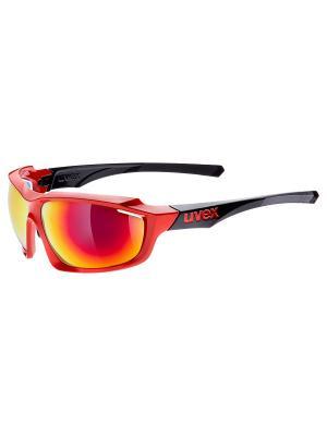 Солнцезащитные очки Uvex. Цвет: красный, черный