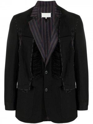 Однобортный пиджак с оборками Maison Margiela. Цвет: черный