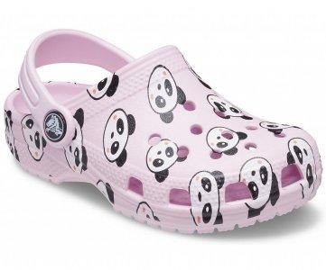 Сабо для девочек CROCS Kids Classic Panda Print Clog Ballerina Pink арт. 206999. Цвет: ballerina pink