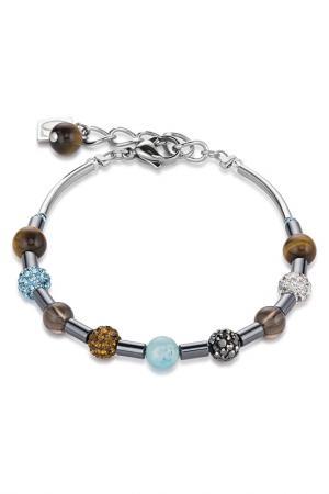 Браслет Coeur de Lion. Цвет: коричневый, голубой, серебро