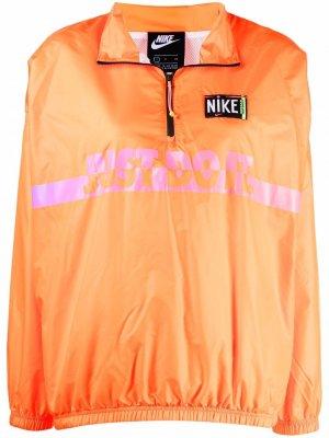 Анорак на молнии с логотипом Nike. Цвет: оранжевый