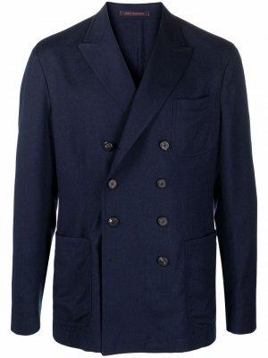 Двубортный пиджак с заостренными лацканами The Gigi. Цвет: синий