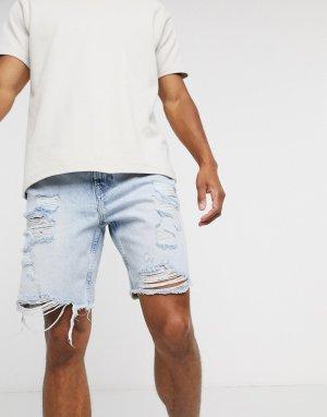 Голубые узкие джинсовые шорты с рваной отделкой -Синий Bershka