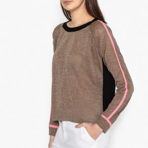Пуловер из тонкого трикотажа и шелка DURIAN MOMONI. Цвет: золотистый