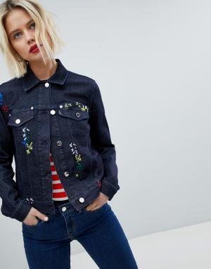 Джинсовая куртка с вышивкой -Синий Love Moschino