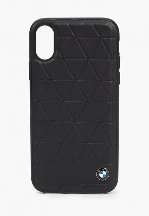 Чехол для iPhone BMW X / XS, Signature Embossed hexagon Leather Black. Цвет: черный