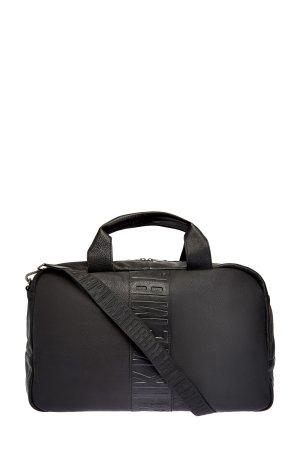 Дорожная сумка из текстурированной кожи с плечевым ремнем BIKKEMBERGS. Цвет: черный
