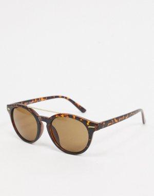 Черепаховые матовые солнцезащитные очки-авиаторы -Коричневый цвет AJ Morgan