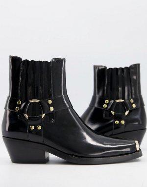 Черные ботинки с ремешками Poker-Черный цвет Jeffrey Campbell