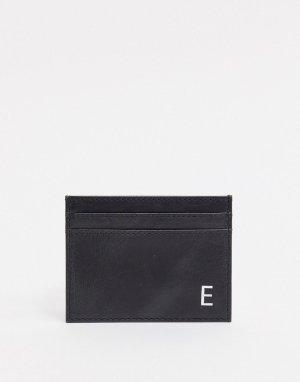 Кожаный кошелек для карт с инициалом E -Черный Peter Werth