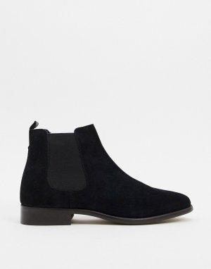 Черные замшевые ботинки челси Walk London-Черный LONDON