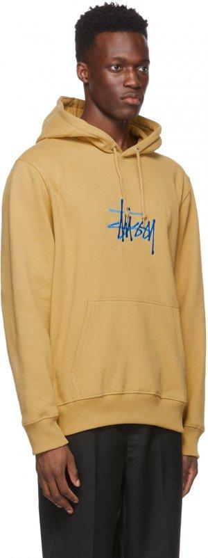 Beige Embroidered Stock Logo Hoodie Stüssy. Цвет: khaki