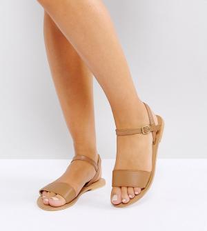 Кожаные сандалии для широкой стопы ASOS DESIGN. Цвет: рыжий