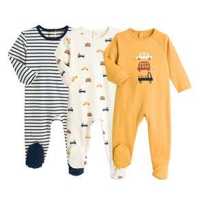 Комплект из 3 цельных пижам LaRedoute. Цвет: бежевый