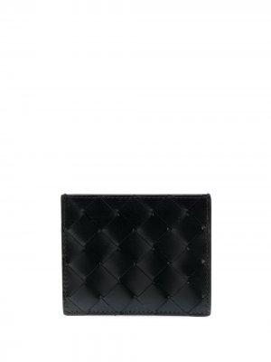 Картхолдер с плетеной отделкой Bottega Veneta. Цвет: черный