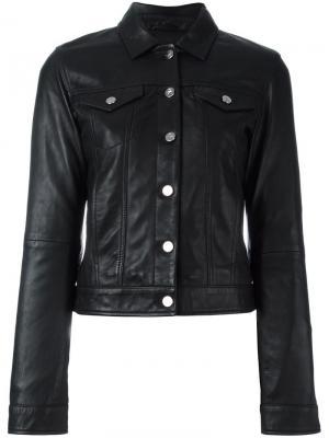 Кожаная куртка на пуговицах Ck Jeans. Цвет: чёрный