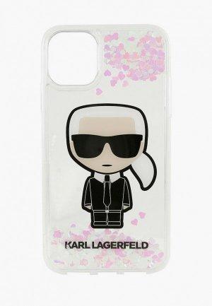 Чехол для iPhone Karl Lagerfeld 11 Pro, Liquid glitter Iconik Hard Transp (glow in the dark). Цвет: прозрачный