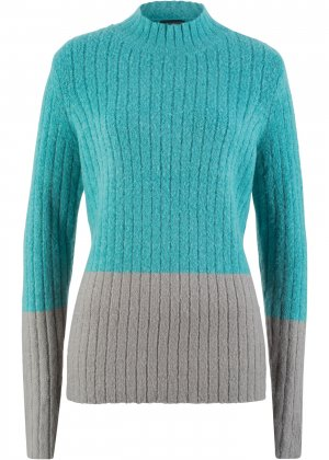 Пуловер с воротником-стойкой bonprix. Цвет: зеленый