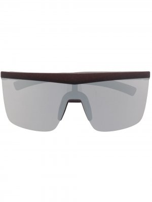 Солнцезащитные очки в массивной оправе Mykita. Цвет: коричневый