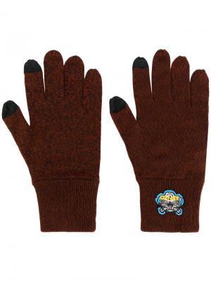 Перчатки с нашивкой в виде тигра Kenzo. Цвет: коричневый