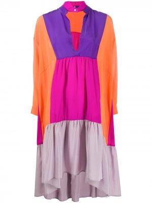 Платье-туника в стиле колор-блок Jejia. Цвет: оранжевый