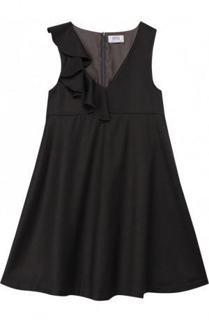 Расклешенное платье с оборкой Aletta. Цвет: темно-серый