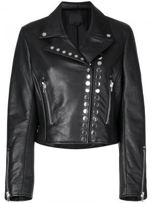 Укороченная байкерская куртка Alexander Wang. Цвет: чёрный