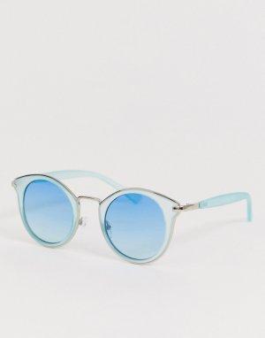 Синие солнцезащитные очки в круглой оправе AJ Morgan. Цвет: синий