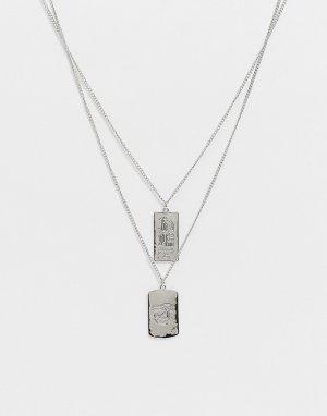 Серебристое ярусное ожерелье с подвесками-иероглифами DesignB-Золотистый DesignB London