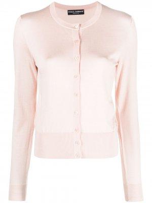 Round-neck silk cardigan Dolce & Gabbana. Цвет: розовый