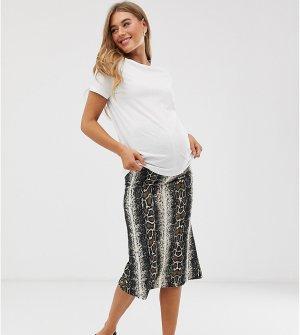Трикотажная юбка миди со змеиным принтом Mamalicious maternity-Мульти Mama.licious