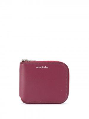 Компактный складной бумажник Acne Studios. Цвет: красный