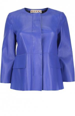 Кожаная куртка с укороченным рукавом и круглым вырезом Marni. Цвет: синий