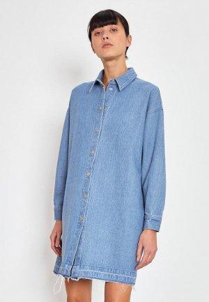 Платье джинсовое Lime. Цвет: синий
