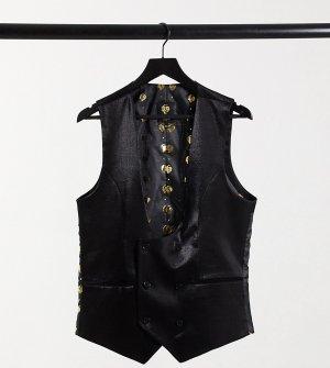 Блестящий черный жилет TALL-Черный цвет Twisted Tailor