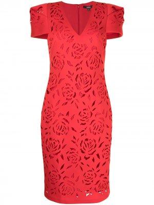 Scuba floral-pattern midi dress Badgley Mischka. Цвет: красный